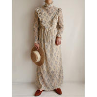 70's Euro Vintage Stand Collar Long Dress