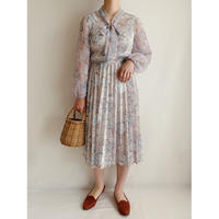 U.K. Vintage Flower Printed Pleats Dress
