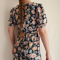 All Over Flower Print Rayon Long Dress With Ribbon