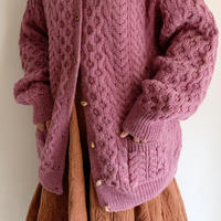 80's Dusky Pink Irish Cable Knit Cardigan