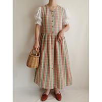 Euro Vintage Plaid Sleeveless Cotton Dress