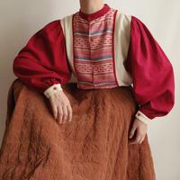 Euro Vintage Folk Design Volume Sleeve Blouse