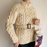 70's Irish Cable Zip Up Sweater With Belt