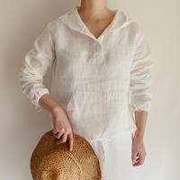 Euro Vintage White Linen Hoodie
