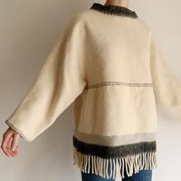 """70's Euro Vintage """" Lapp Lander"""" Fringe Wool Pullover"""