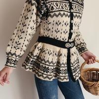 Nordic Peplum Design Knit Cardigan