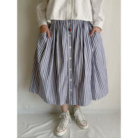 80's Euro Vintage Cotton Front Buttons Stripe Skirt