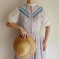 Euro Vintage Cotton Striped  Flare Long Dress