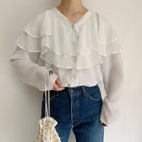 Euro Vintage Double Sheer Collar Blouse