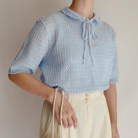 Euro Vintage Summer Knit Blouse With Ribbon