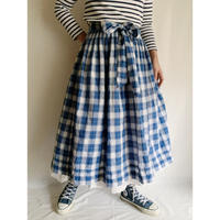 80's Euro Vintage Cotton Plaid Folk Flare Skirt With Ribbon