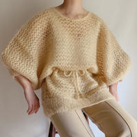 Euro Vintage Gold lame Fishnet Knit Top