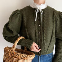 Euro Vintage Volume Sleeve Design Knit Cardigan