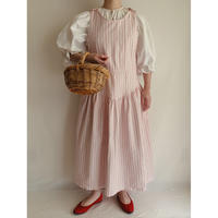 80's USA Cotton Stripe Flare Long Dress