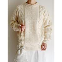 80's Euro Vintage Snowflake Pattern Knit Sweater