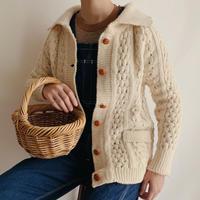 Irish Popcorn Knit Cardigan With Collar