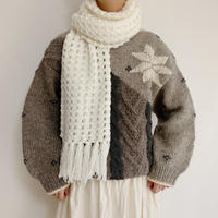 Euro Vintage Snow Pattern Cable Knit Sweater