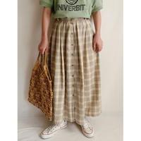 Euro Vintage Plaid Cotton Flare Long Skirt