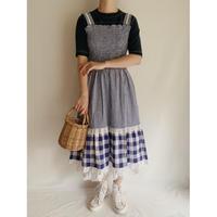 Euro Vintage Gingham Check Shirring Dress
