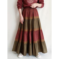 80's USA Cotton Tiared Volume Flare Long Skirt