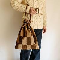 70's Euro Vintage Patchwork Leather Drawstring Bag