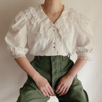 Euro Vintage Cutwork Lace Double Collar Blouse
