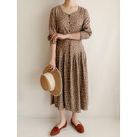 Euro Vintage Flower Print Rayon Dress