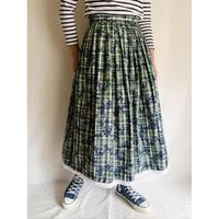 80's Euro Vintage Cotton Plaid and Flower Print Folk Flare Skirt