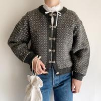 Euro Vintage Short Design Nordic Knit Cardigan