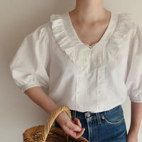 Euro Vintage Cotton Heart Motif Lace Blouse