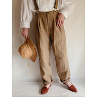 Euro Vintage Cottom Linen Blend Wide Silhouette Tuck Pants