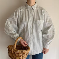 Euro Vintage Striped Volume Sleeve Folk Design Shirt