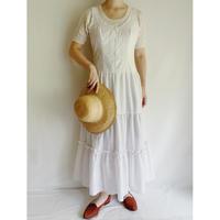 80's USA Sleeveless Teared Flare Long Dress