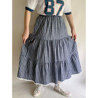 Euro Vintage Cotton Striped Tiared Skirt