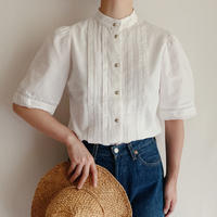 Euro Vintage Cotton Stand Collar Blouse