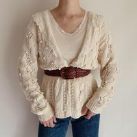 Ivory Popcorn Hand Knit Cardigan