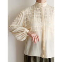 80's Euro Vintage Silk Pleated Design Blouse