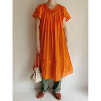 Mandarin orange Mexican Gauze Summer Dress