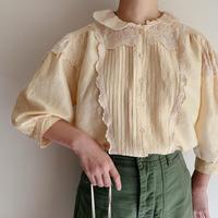 Euro Vintage Cutwork Lace × Pleats Design Silk Blouse