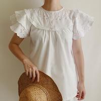 Euro Vintage Cotton Tiared Sleeve Aline Blouse