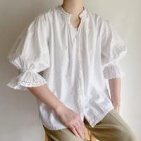 Euro Vintage Folk Design Volume Sleeve Cotton Blouse