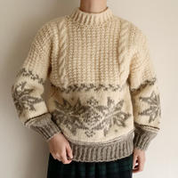 Euro Vintage Snow Pattern Hand Knit Sweater