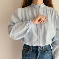 Euro Vintage Light Blue Pleats Design Blouse
