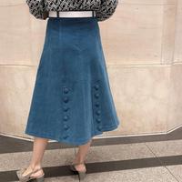 コーデュロイバックボタンスカート