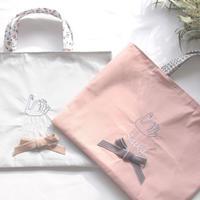 スワン刺繍とベルベットリボンのレッスンバッグ