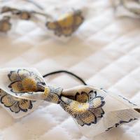 S 花刺繍のフレンチリボンヘアゴム