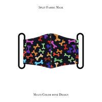 スプリット マスク / マルチ カラー ボーン デザイン ( ブラック )