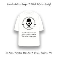 【 カァンファタブル シェープ  ティーシャツ / モダンパイレーツ スタンダード スカル デザイン 001 (5.6オンス・ホワイトボディー) 】