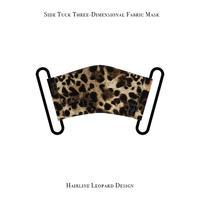 サイドタック 立体式 マスク / ヘアライン レオパード デザイン