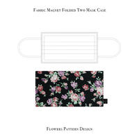 Fabric Magnet Folded Two Mask Case / Flowers Pattern Design